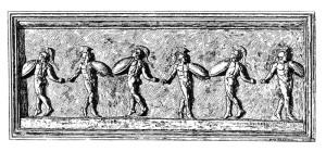Escultura grega em baixo-relevo retratando uma dança militar. Acervo do Museu do Vaticano.