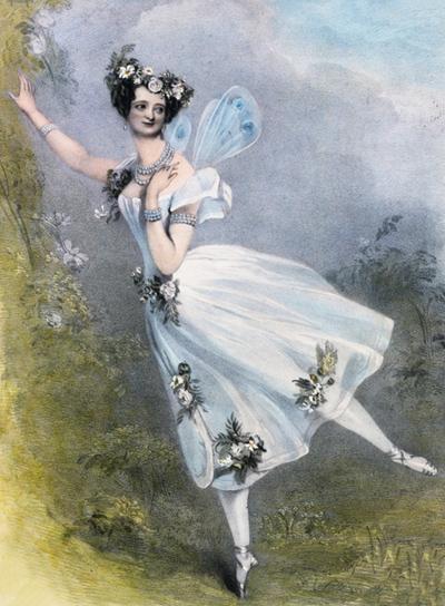 Litogravura da bailarina Marie Taglione de 1831.