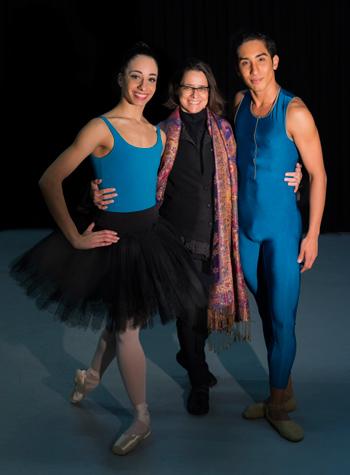 Inês e os bailarinos da SPCD, Paula Alves e Mozart Mizuyama. | Foto: Wilian Aguiar