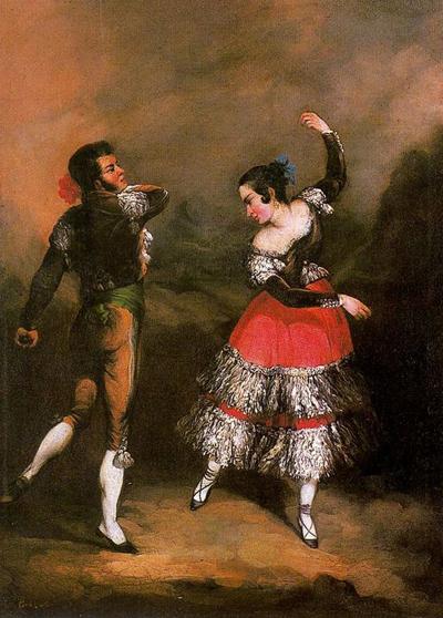 Majo e Maja bailando, obra de Andrés Cortés Aguilar.