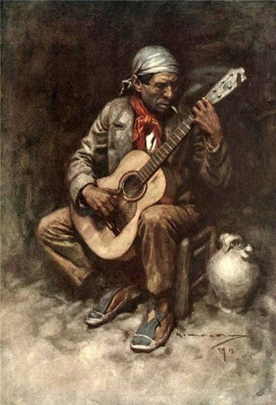 'Un gitano granadino', 1914, tela de Michael Arthur C.